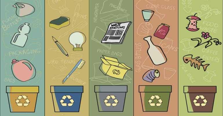 Ручная сортировка отходов по типу мусора